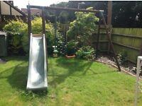 garden slide, swing and seesaw