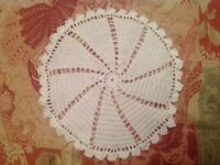 Hand made table mat/doilies in cotton, crocheted