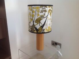 Wooden lamp with hand made exotic themed lampshade