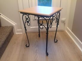Modern Wooden top table with black wrought iron legs