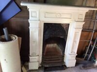 victorian fireplace with all the parts - grate etc.