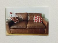 NEXT 3 SEATER LEATHER SOFA AND MATCHING CHAIR