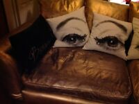 Gold chalk painted extra large leather soft - super comfy!