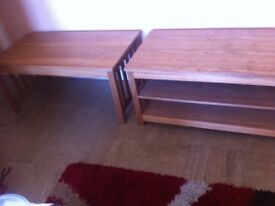 Tv table and coffee table pine wood affect both matching good condition