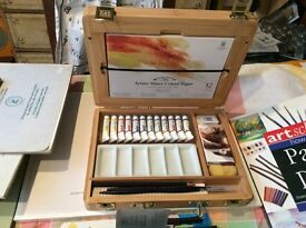 Windsor & Newton watercolour set new + boards, pads, acrylic paints etc