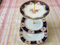 Dark Blue and Gold Bone China 3 Tier Cake Stand