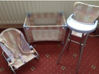 Toy cot, highchair and baby bouncer