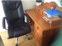 Solid Pine Desk & Learher office chair