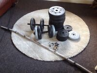 60kg of weights plus bar