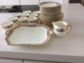 33 PIECE CAULDON PATTERN 2593 BLUE AND GOLD DESIGN COFFEE SANDWICH SET SET GOOD CONDITION
