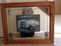 Mirror with wooden frame and RollsRoyce picture
