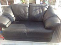 FREE 2seater black leather sofa
