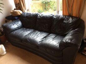 3 Seater Retro Leather Sofa