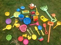 Assorted selection of sand pit toys