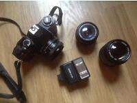 Cosina camera with accessories