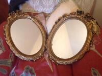 Pair gold framed mirrors £10 for both