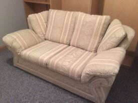 Suite of Furniture - 3 Seater, 2 Seater & Footstool - Light Green & Cream Fabric