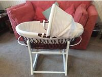 Lovely wicker Moses basket & rocking stand
