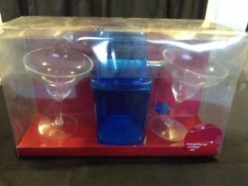 Margarita cocktail set includes 2 glasses and ice crusher