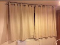 Pair of curtains, cream colour, suede like