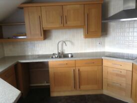 Kitchen - Solid wood doors, solid surface composite worktop