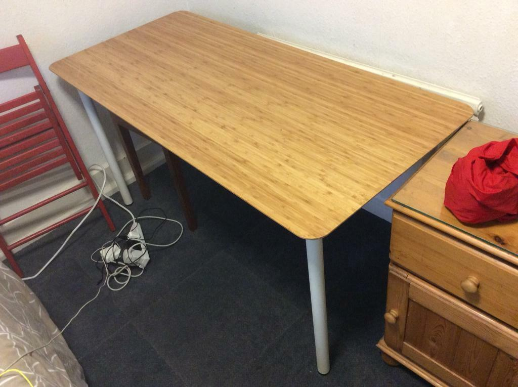 Desk Table Bamboo Ikea Hilver