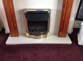 Marble Fire Place Surround and Electric Fire with wooden Mantelpiece