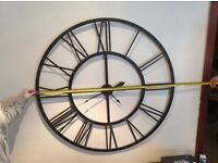 EXTRA LARGE BROWN/BLACK WROUGH IRON CLOCK WITH ROMAN NUMERALS, 45IN OR 145CMS DIAMETER