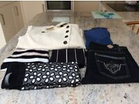 SIZE 12 CLOTHING X6 (Jeans, Coat, Tops) X1 NEW. X5 USED. NEXT M & S JANE NORMAN PRIMARK PLAYBOY.
