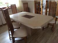 Marble dining table with 6 Rene MC Intosh style chairs