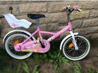 Girls pink 16 inch princess b'twin bike with doll seat