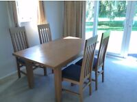 New England Solid Oak Dining Table & 4 Chairs