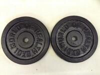 2 x 10kg World of Health Standard Cast Iron Weights