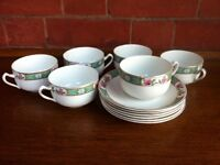 Vintage J&G Meakin Tea Set 6 Cups Saucers Henley England Garden Party Table Ware