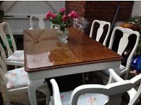 Shabby chic table and six chairs
