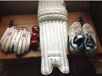 Cricket Kit inc pads, gloves and balls