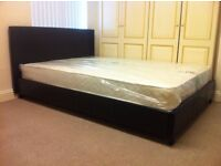 ***New*** 4.6 FT Double Bed in Black PU Leather with Headboard Stitching Design with Mattress