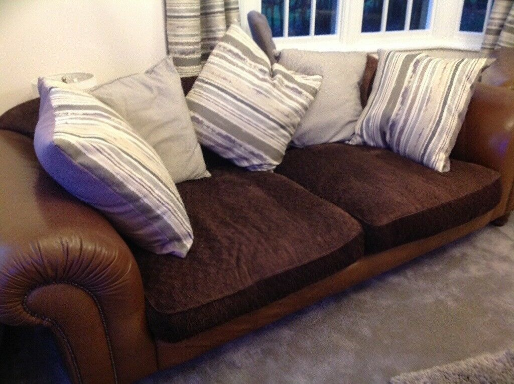 2 Tetrad Large Degas Sofas In Brown Leather And Brown