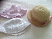 3 x girl sun hats (1 John Lewis, 2 M&S) Excellent condition 3/4 years