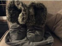 John Lewis faux fur slipper Grey brand new with tags & dust bag
