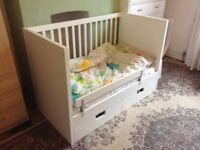 Lovely ikea stuva cot infant bed in white with drawers