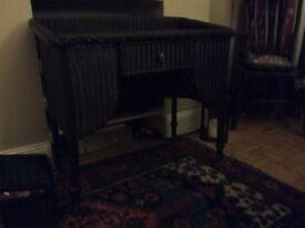 Lloyd loom dressing table black one drawer. £50. No label C1920s