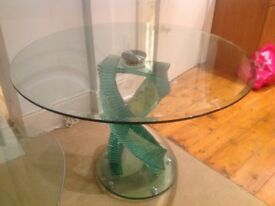 Solid green glass dining and coffee tables