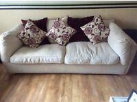 3 seater, 2 seater sofas & large storage poufee