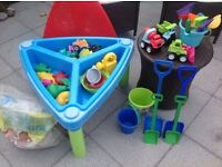 Children's plastic sand / water table with toys & sand