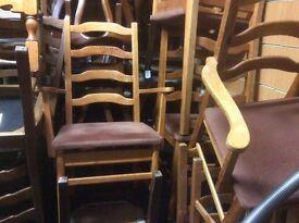 Set of 6ladder back vintage oak chairs