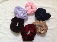 Large velvet hair scrunchies pack of 6