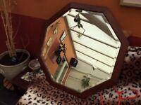 Vintage wooden octogan bevelled edge mirror