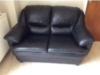 Black real leather 2 seater sofa