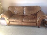 Brown leather Laura Ashley sofa